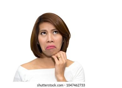 Beautiful asian woman make up face joke on white background, clipping path
