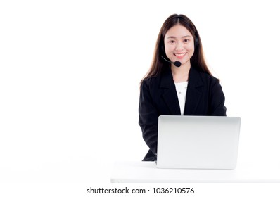 beautiful Asian woman officer talk and answer with customer , call center worker on white background, she smile and feel so happy, service mind