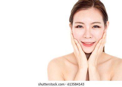 Beautiful asian woman on white isolated background, make up, healthy skin, beauty, cute asian woman concept