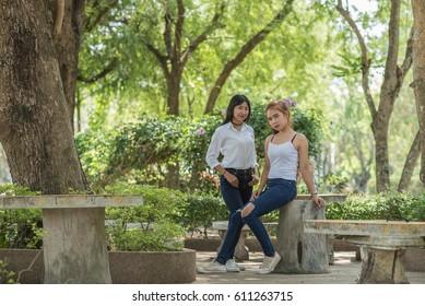Beautiful Asian woman in the park.