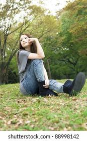 Beautiful asian woman in the park