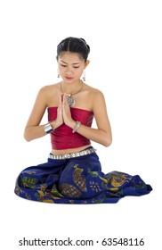 beautiful asian woman praying, isolated on white