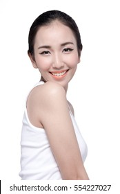 Beautiful Asian woman and she was radiant with love isolated on white background