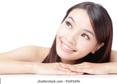 Beautiful asian woman smile face isolated on white background