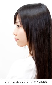 beautiful asian woman with straight long hair