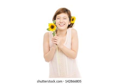 Beautiful asian woman with sunflower