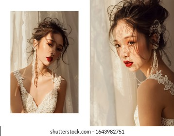 Beautiful asian woman sunlit by the window