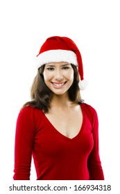 Beautiful asian woman wearing Santa's hat isolated on white