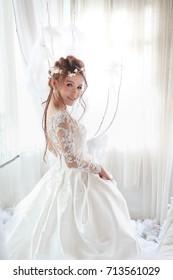 beautiful asian woman in white bride dress / white princess theme