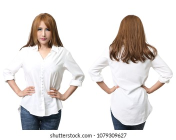 beautiful asian woman in white shirt front and back in studio