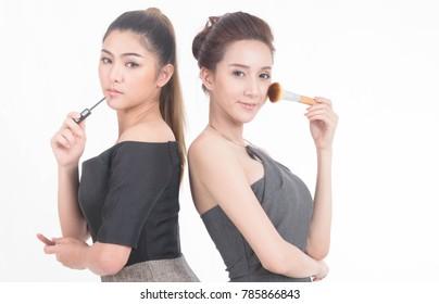 Beautiful Asian women Portrait Facial  face Make up Beauty concept.