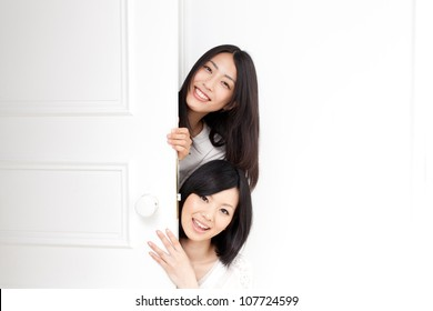 beautiful asian women with two doors