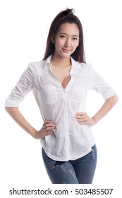 Beautiful asian young woman in a blue jeans and white men shirt, isolated on white background