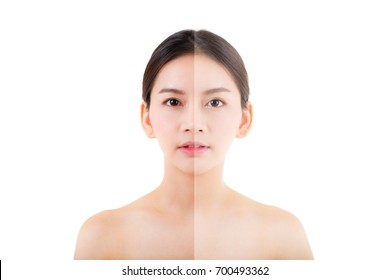 beautiful asian young woman on a white background, beauty cosmetic concept. retouch before and after.face divided in two parts, poor condition the skin in good condition