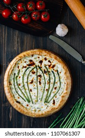 Beautiful asparagus tart - fresh pie with asparagus and goat cheese