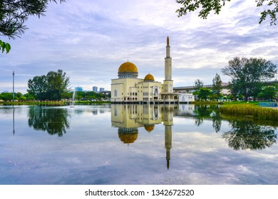 Beautiful As-Salam mosque in Malaysia with copy space