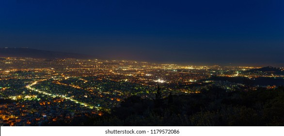 Beautiful Athens dusk view from Petroupolis Mountain Athens, Greece, Europe