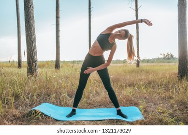 Beautiful athletic girl trained on yoga mat. Gymnastics warming up muscles. Active lifestyle in nature. Fitness in open air harmony and gymnastics in concentration calm meditation infinity nature.