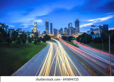 Beautiful Atlanta City View with Light Trails from Jackson Bridge during Blue hour