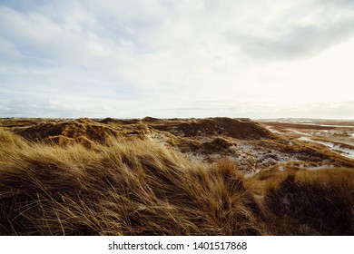 Beautiful atmosphere of the island of Amrum. Impressive dunes with light cloudy sky. The sun almost shines through. North Frisia, Schleswig-Holstein, Germany.