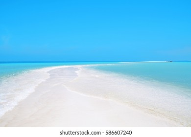 Beautiful atoll, sunny tropical scenery, islands, beach with white sand and lagoon, Nokanhui, Isle of Pines, New Caledonia, South Pacific Ocean
