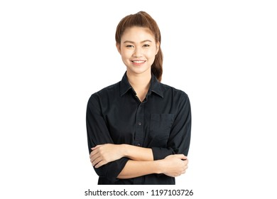 Beautiful Attractive Asian business woman wearing black shirt smile and cross arm feeling so happiness and confident with positive thinking,Isolated on white background,Business Concept