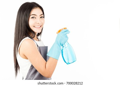 Beautiful Attractive Asian Maid Woman smile and holding cleaner spray feeling happiness and confident,Isolated on white background,Cleaning Service Concept