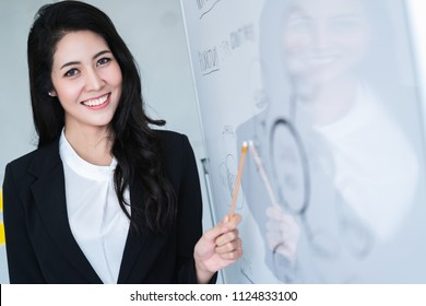 beautiful attractive asian woman designer present project to client with happiness and joyful in meeting room office background