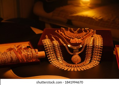 Beautiful and attractive designer gold jewelry like earrings bangles bracelet necklace chain bride necklace
