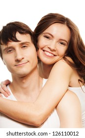 Beautiful attractive happy woman hugging his boyfriend