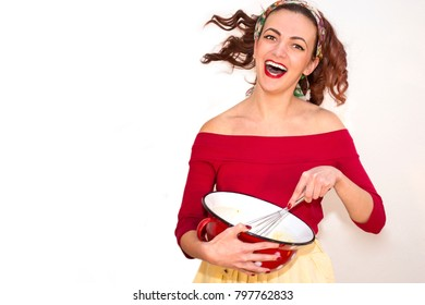 Beautiful Attractive Woman Mixing Eggs - Retro Vintage 50s style