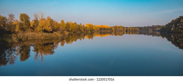 Beautiful atumn reflections at Zulling-Isar-Bavaria