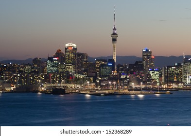 The beautiful Auckland city at night with skyscraper