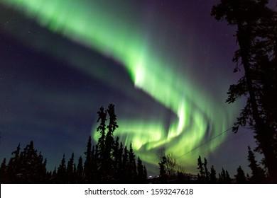 beautiful aurora borealis in alaska