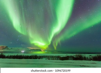 Beautiful Aurora Borealis or better known as The Northern Lights view in Iceland during winter