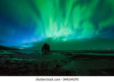 Beautiful Aurora Borealis, Northern light at Hvitserkur, Iceland