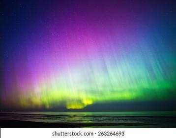 Beautiful Aurora Borealis over sea