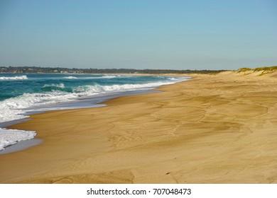 Beautiful Australian beach on the Pacific Ocean. Large strip of empty sand and dunes on seaside on the east coast of Australia.