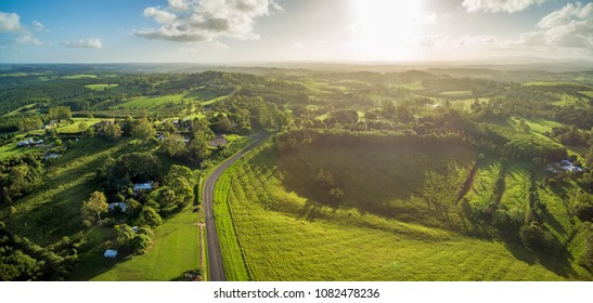 Beautiful Australian countryside at sunset - aerial panorama. Brooklet, New South Wales, Australia
