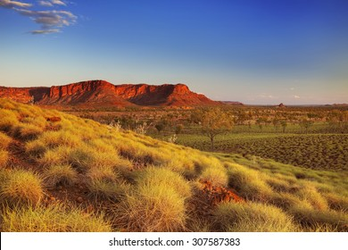 Beautiful Australian landscape in the light of a setting sun. Photographed from the Kungkalahayi lookout in Purnululu National Park.