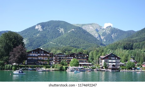 Beautiful austrian houses on the coast of the lake