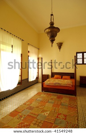 Beautiful authentic arabic bedroom in a traditional riad (guesthouse), Morocco