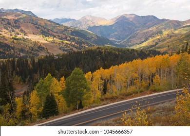 Beautiful autumn at Big Cottonwood Canyon Road near Salt Lake City in Utah in the USA