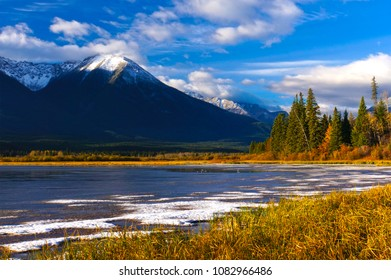 Beautiful autumn Canadian Landscape, Jasper National Park, Alberta, Canada
