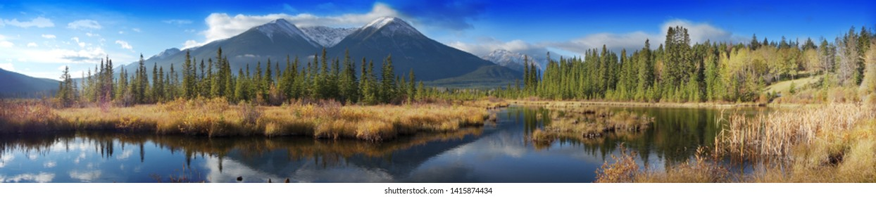 Beautiful autumn Canadian Landscape, Jasper National Park, Alberta, Canada, panoramic view