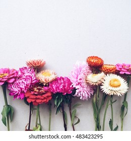 beautiful autumn colors. asters, dahlia, chamomile, dried flowers. Space for text. vintage photo on the phone. light background with summer flowers