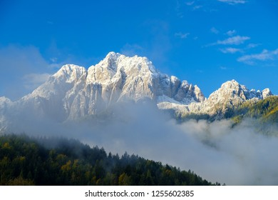 Beautiful autumn colors  in the background the Martuljek mountain near the  Kranjska  Gora at Triglav national park  in Slovenia,Europe