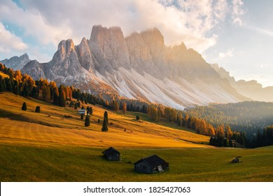Beautiful autumn colors at the foot of the Odle Mountains in the backdrop of the Seceda Mountains at sunset in the Dolomites, Trentino Alto Adige, Val di Funes Valley, South Tyrol in Italy
