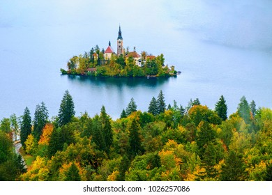 Beautiful autumn colors on the Bled lake in Slovenia,Europe