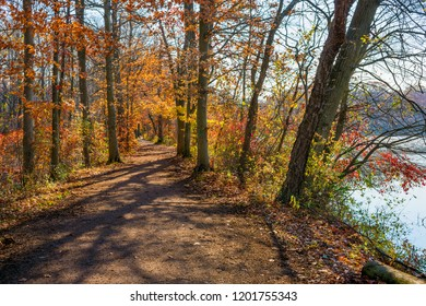 Beautiful Autumn colors surround the hiking trail in Smithville Village in Burlington County New Jersey.